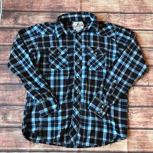 Wrangler Plaid Flannel Button Down Shirt, Size Med